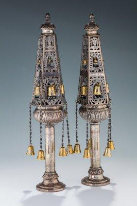 A Pair Of Silver Torah Finials. North Africa, C. 1870.