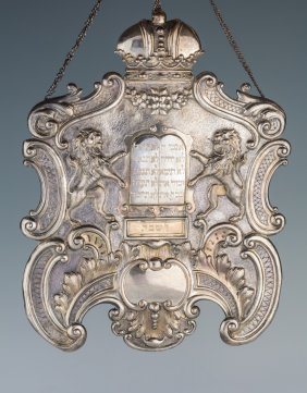 A Large Silver Torah Shield. Vienna, C. 1880. Embossed