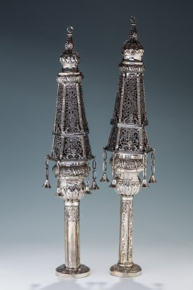 A Monumental Pair Of Silver Torah Finials. Probably
