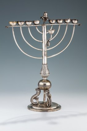 An Exceptional Rare And Important Chanukah Menorah By