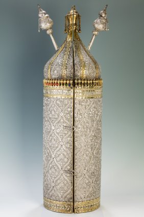 A Magnficent Silver Torah Tik. Iraq, 1874. Hand Chased