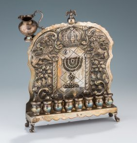 A Silver Chanukah Lamp. American, C. 1900. Crafted By