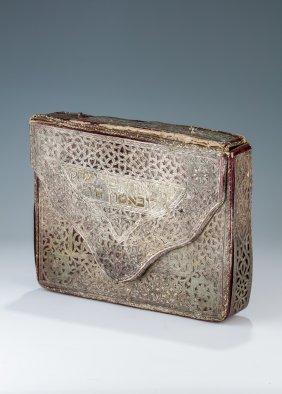 A Silver And Velvet Tallis Bag. Probably Morocco, C.