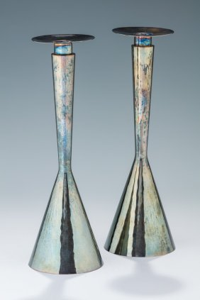 A Pair Of Silver Candlesticks By Tas. Jerusalem, C.