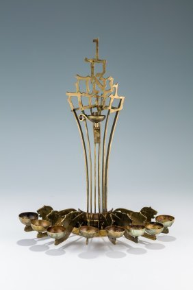 A Bronze Chanukah Lamp By Ludwig Wolpert Made In The