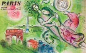"""A Chagall Print: Paris L'opera. 39"""" X 24""""."""