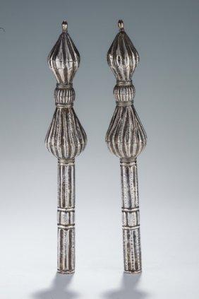A Pair Of Silver Torah Finials. Yemen, 19th Century.