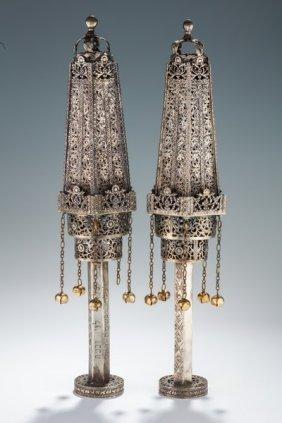 A Pair Of Monumental Silver Torah Finials. North