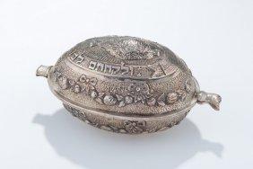 A Large Silver Etrog Box. Germany, C. 1900.