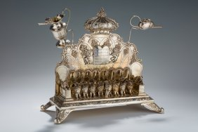 A Large Silver Chanukah Menorah. Germany, C. 1890. On