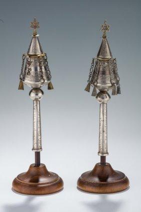A Pair Of Silver Torah Finials. Iraq, 19th Century.