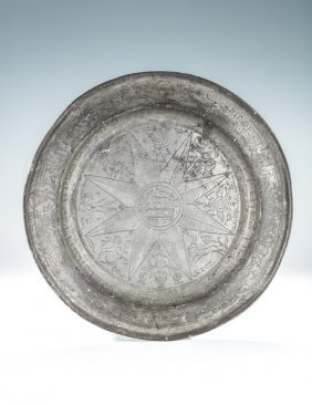 A Large Exceptional Pewter Seder Dish. Germany, 1768.