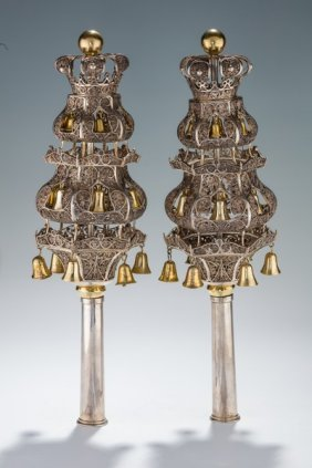 A Pair Of Large Silver Filigree Torah Finials. The