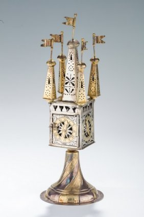 A Large Silver Spice Tower. Germany, 19th/20 Century.