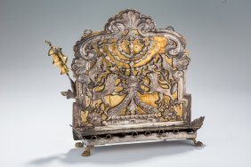 A Rare And Early Parcel Gilt Chanukah Lamp. Poland Or