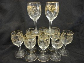 "Cordial Glasses, 10, Gilt Decoration, 3 5/8""H"