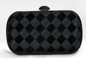 BOTTEGA VENETA BLACK INTRECCIATO RIBBON EVENING BAG