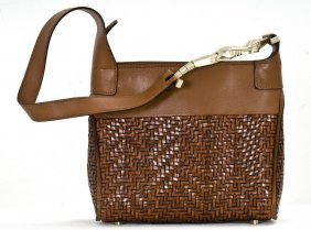 KIESELSTEIN-CORD BROWN WOVEN LEATHER SHOULDER BAG