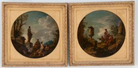 After Giovanni Paolo Panini: Pair Of Capriccio Roundels