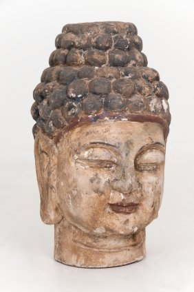 Chinese Wood Carved Head Of Buddha