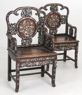 Pair Of Chinese Teak & Mother Of Pearl Armchairs