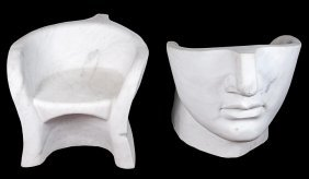 Pair Of Moderne Carved Marble Garden Seats