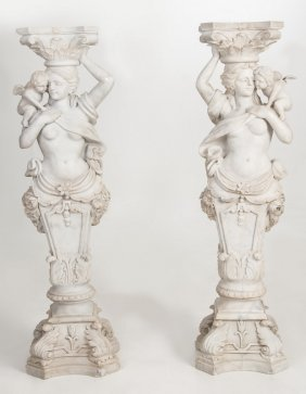 Pair Of White Marble Figural Pedestals