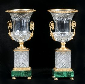 Pair Of Molded Glass Urn-form Garnitures