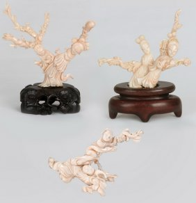 Three Angel-skin Carved Coral Groups