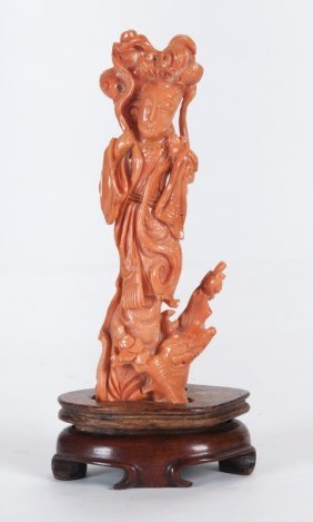 Chinese Carved Coral Quan Yin