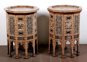 Pair Of Syrian Bone & Mother-of-pearl-inlaid Decagonal