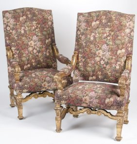 Pair Of Regence Style Giltwood Hall Chairs