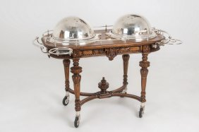 Silver-plated & Carved Oak Serving Cart