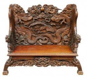 Japanese Carved Hardwood Dragon Bench
