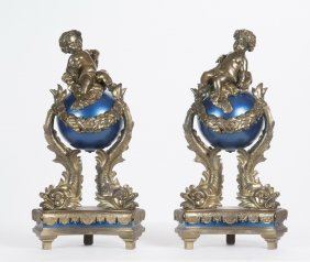 Pair Of French Dore Bronze & Enameled Chenets