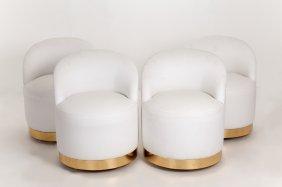 Karl Springer: Set Of Four White Leather Upholstered