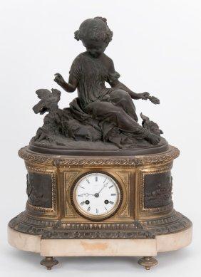 French Bronze & Gilt Bronze Figural Mantle Clock