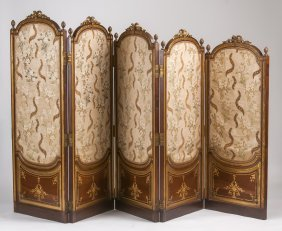 French Mahogany, Parcel Gilt, & Needlepoint Five-panel