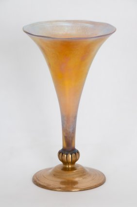 Tiffany Furnaces Bronze & Favrile Glass Vase