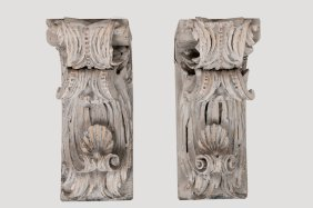 Pair Of Italian Painted Carved Brackets