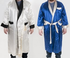 Two Assorted Silk Boxing Robes [one With Muhammad Ali