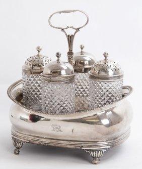 George Iii/regency Sterling Silver Cruet Set