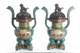 Pair Of Large Chinese Cloisonne Censers