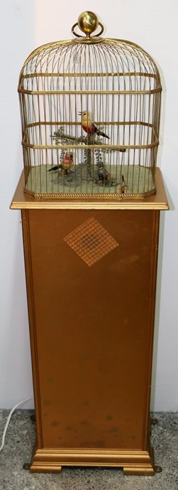 French Coin Activated Triple Singing Bird Automaton