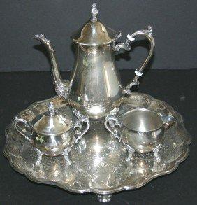 Four (4) Piece Sheridan Silverplate Tea Set.  Tray