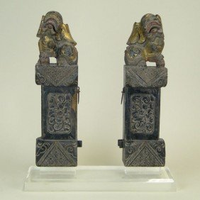 PAIR OF ANTIQUE WOODEN FOO DOGS