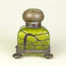 ANTIQUE LOETZ ENCASED INKWELL