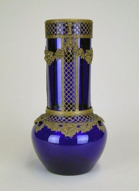 LARGE COBALT FRENCH BULBOUS NOUVEAU VASE