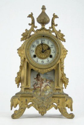 DORE BRONZE FRENCH TIME & STRIKE HAND PAINTED CLOC