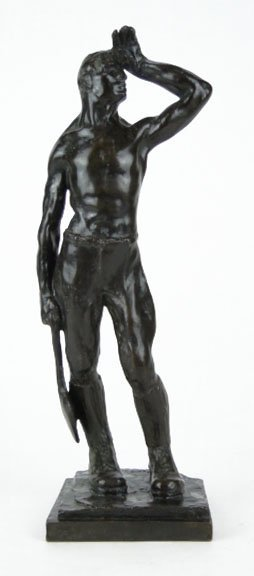 INDUSTRIAL BRONZE FIGURINE OF WORKING MAN  E.SIEBE